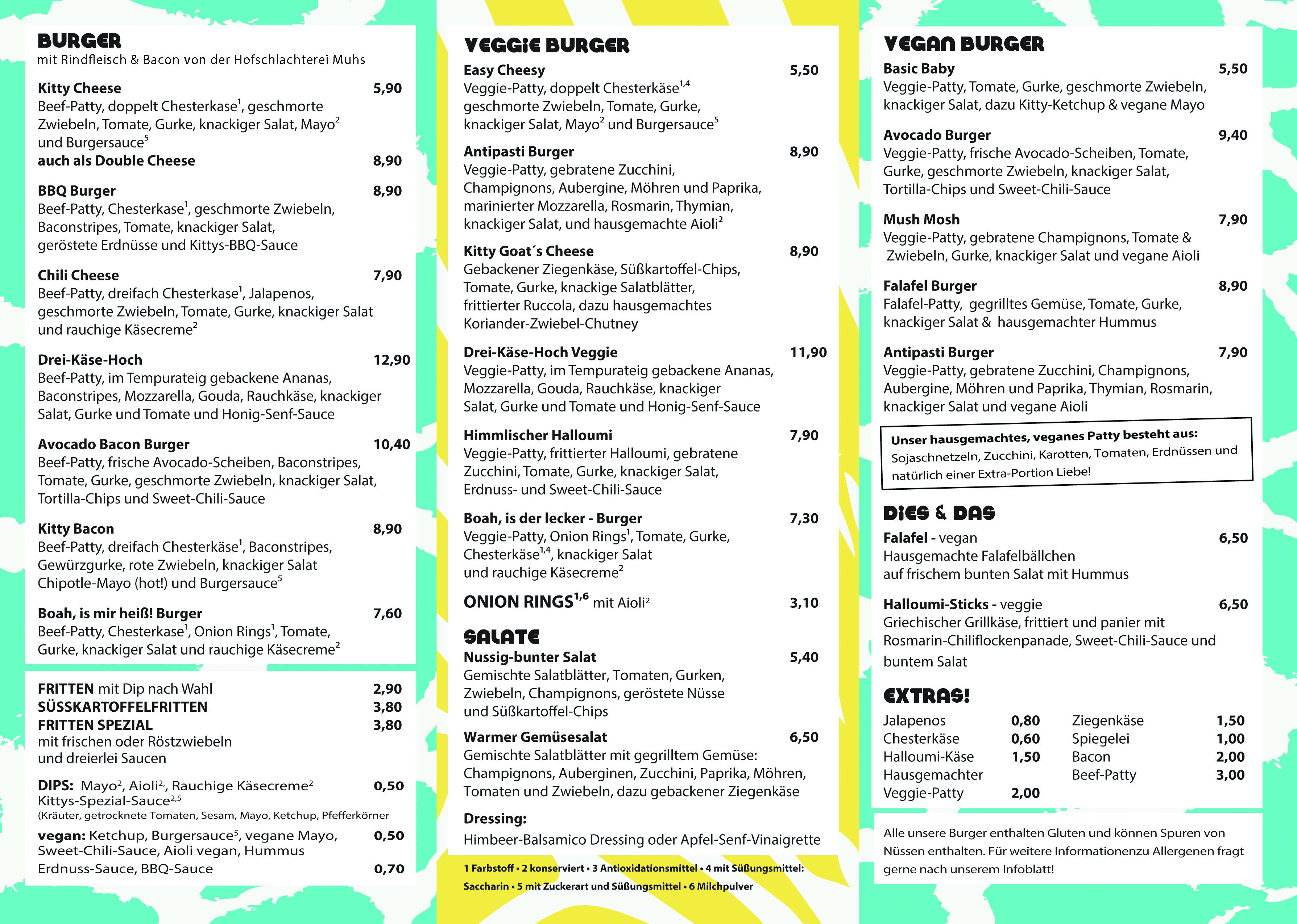 Speisekarte Kitty Rock Belly Full: Burger mit Bio-Rindfleisch, vegetarisch oder vegan